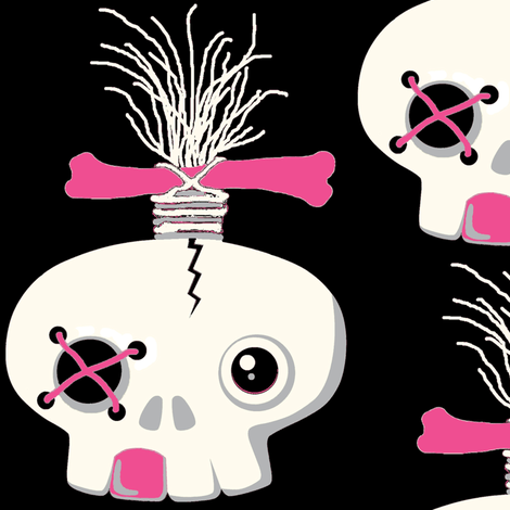 Abby Skull / pink fabric by paragonstudios on Spoonflower - custom fabric