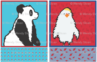 Panda and Chicken Cut and Sew blanket and pillow set