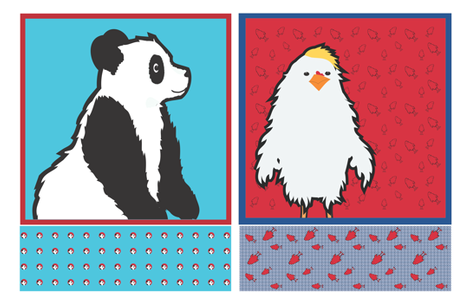 Panda and Chicken Cut and Sew blanket and pillow set fabric by wendyg on Spoonflower - custom fabric