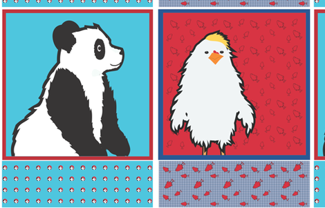 Panda and Chicken Cut and Sew fabric by mainsail_studio on Spoonflower - custom fabric