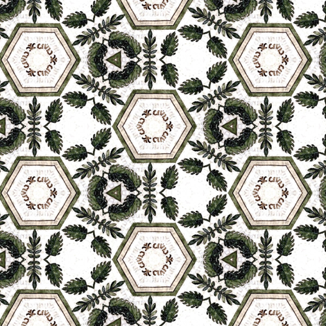 Medieval foliage tile fabric by ravynka on Spoonflower - custom fabric