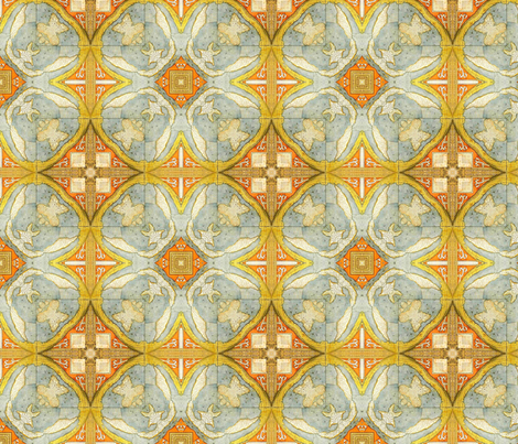 Blue and yellow map tiling fabric by ravynka on Spoonflower - custom fabric