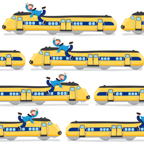 Dutch Trains fabric by verycherry on Spoonflower - custom fabric