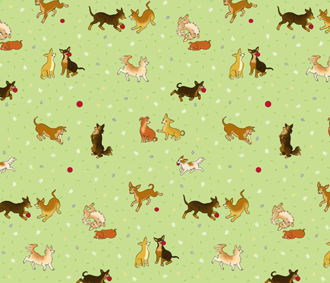 Chihuahua Garden fabric by natashad on Spoonflower - custom fabric
