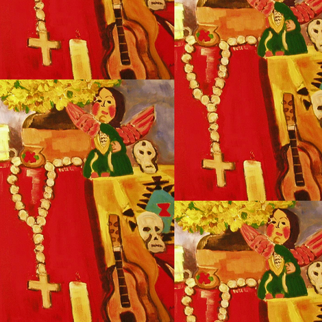 Post Cards from the Mexican Day of the Dead fabric by susaninparis on Spoonflower - custom fabric