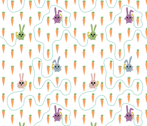 Rabbits fabric by leighr on Spoonflower - custom fabric