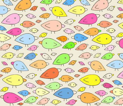 Rainbow Birds - Creamy Backgroun fabric by pocketcarnival on Spoonflower - custom fabric
