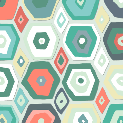 hex diamond coral mint fabric by scrummy on Spoonflower - custom fabric