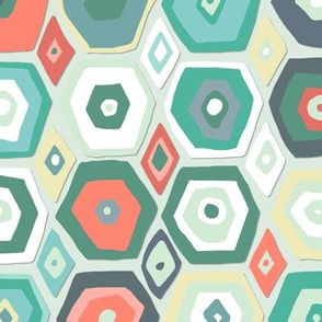 hex diamond coral mint