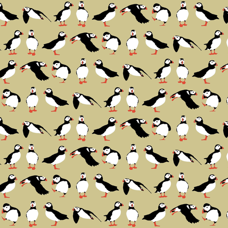 just small puffins (buff) fabric by scrummy on Spoonflower - custom fabric