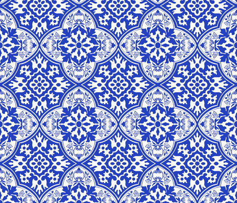 My delft tile fabric by poetryqn on Spoonflower - custom fabric