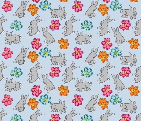Hoppy Joy Bunny Dance fabric by kdl on Spoonflower - custom fabric