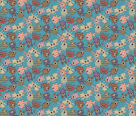 sea monster love blue fabric by scrummy on Spoonflower - custom fabric