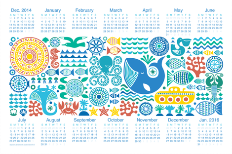 Year under the sea 2015 fabric by dennisthebadger on Spoonflower - custom fabric