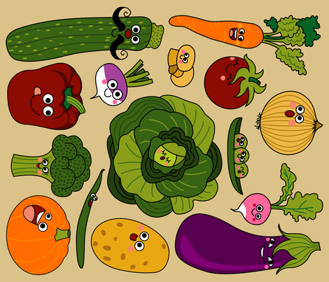 Vegetables Monsters fabric by katiavial on Spoonflower - custom fabric