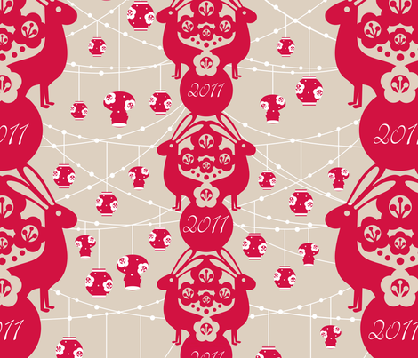 Year of the Rabbit 2011 fabric by mandakay on Spoonflower - custom fabric