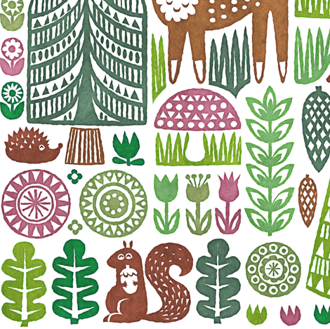 springtime in the forest fabric by dennisthebadger on Spoonflower - custom fabric