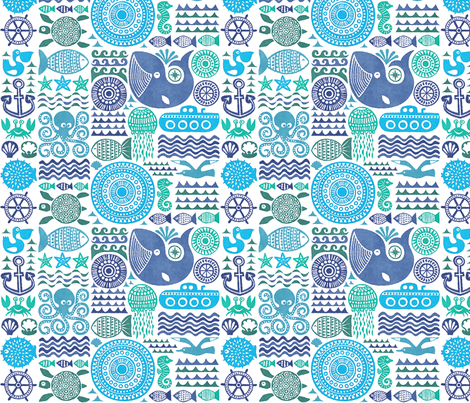 under the sea, watercolor fabric by dennisthebadger on Spoonflower - custom fabric