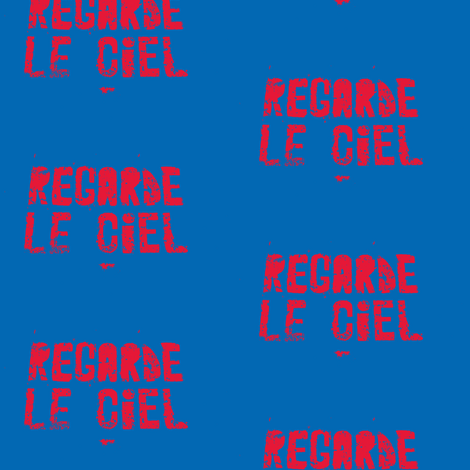 Look at the Sky - Regarde le Ciel, small red text fabric by susaninparis on Spoonflower - custom fabric