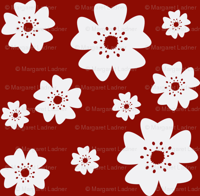 Medium Cherry Blossoms in Red
