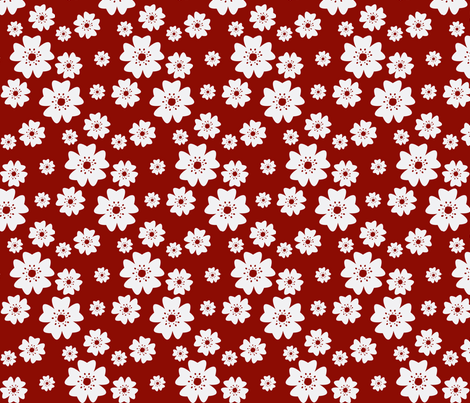 Medium Cherry Blossoms in Red fabric by fussypants on Spoonflower - custom fabric