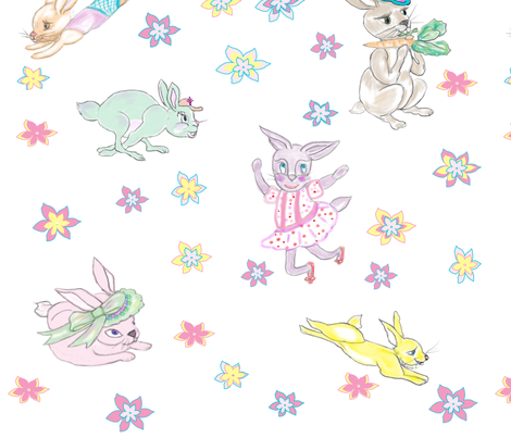 FrolickingRabbits fabric by marygrace on Spoonflower - custom fabric