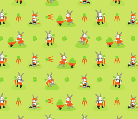 Gardening Bunnies fabric by acbeilke on Spoonflower - custom fabric