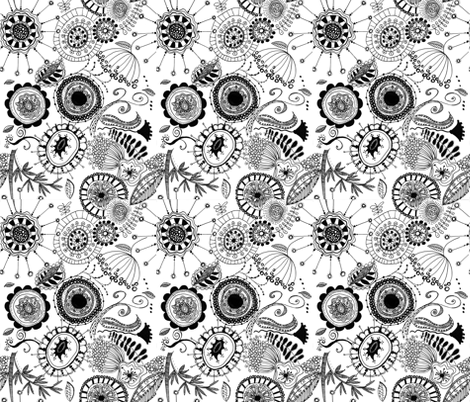 Doodled Flowers (black and white) fabric by meg56003 on Spoonflower - custom fabric