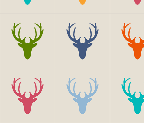 16 inch seaview simple deer heads pillow panels fabric by scrummy on Spoonflower - custom fabric
