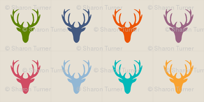 seaview simple deer heads pillow panels