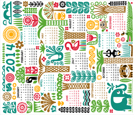 Year in the Jungle 2014 fabric by dennisthebadger on Spoonflower - custom fabric