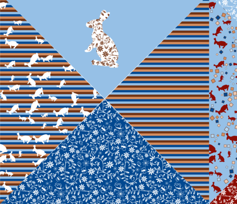 Bunny Bandanas - zoom to view all 16 neck ties. fabric by jasmo on Spoonflower - custom fabric