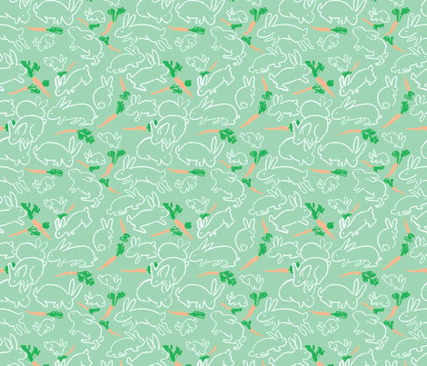 rabbits and carrots green fabric by vinpauld on Spoonflower - custom fabric