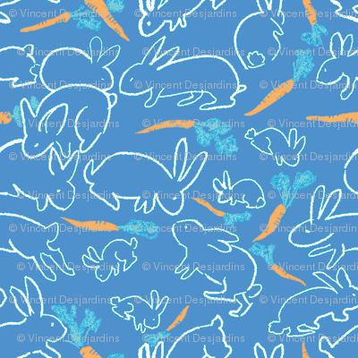 rabbits and carrots blue