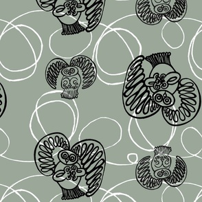 Swirley_Owl_Black_on_grey_green
