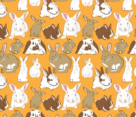 Rabbits fabric by dynasty_b on Spoonflower - custom fabric