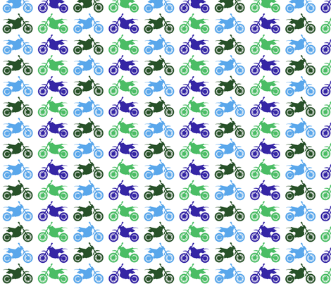 Large Dirt Bikes - blues and greens fabric by jesseesuem on Spoonflower - custom fabric