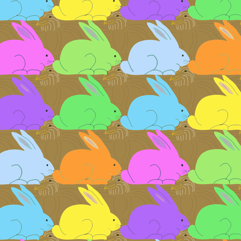 Marshmallow Bunnies and Chocolate Eagles fabric by coloroncloth on Spoonflower - custom fabric