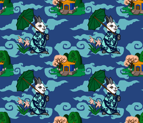 Rabbit Spring - Light fabric by rayne on Spoonflower - custom fabric