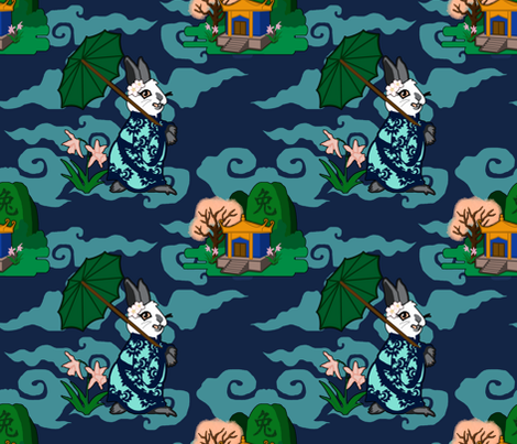 Rabbit Spring - Dark fabric by rayne on Spoonflower - custom fabric