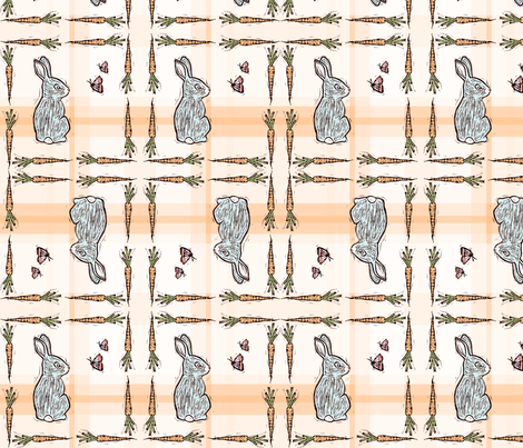 Bunnies on Plaid fabric by kim_buchheit on Spoonflower - custom fabric