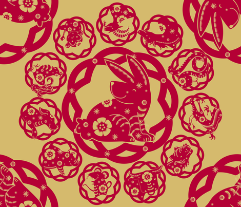 The Year of the Rabbit: Red & Gold - © Lucinda Wei fabric by simboko on Spoonflower - custom fabric