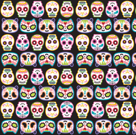 Sugar Skulls woop fabric by pinkupinkupinku on Spoonflower - custom fabric