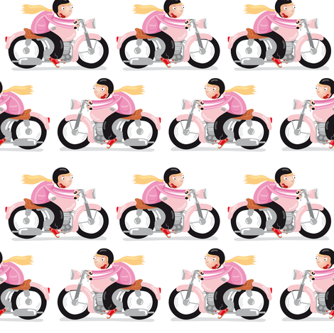 Motorcycle woman fabric by verycherry on Spoonflower - custom fabric