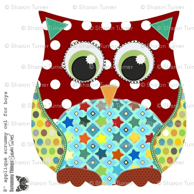 "8"" appliqué scrummy owl for boys"
