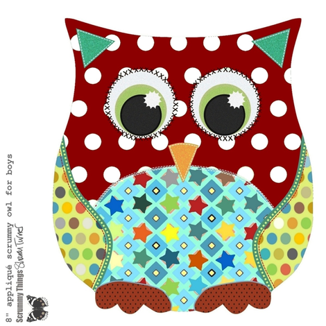 "8"" appliqué scrummy owl for boys fabric by scrummy on Spoonflower - custom fabric"