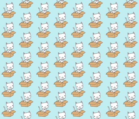 cute kitty on blue fabric by liz-adams on Spoonflower - custom fabric