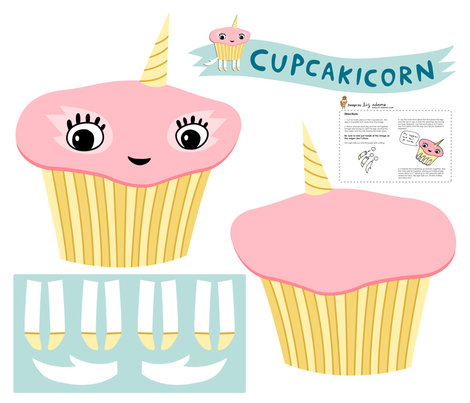 cupcakicorn stuffed creature fabric by liz-adams on Spoonflower - custom fabric