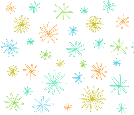 scribbled stars on white fabric by liz-adams on Spoonflower - custom fabric