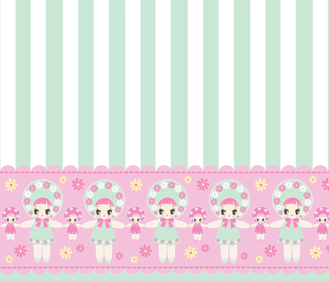 19 inch Bunka Doll panel Mint fabric by pinkmacaroon on Spoonflower - custom fabric